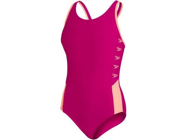 speedo Boom Logo Splice Muscleback Swimsuit Girls, electric pink/neon fire